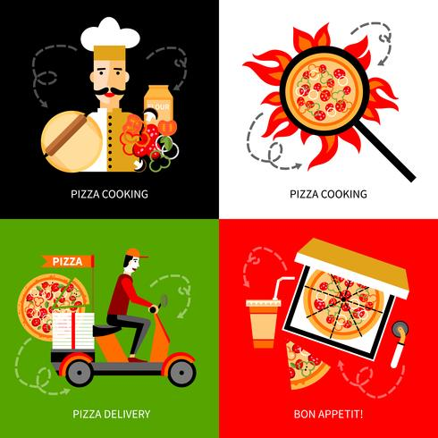 Pizza levering 4 plat pictogrammen vierkant vector