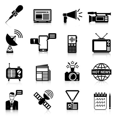 Media zwart witte pictogrammen instellen vector