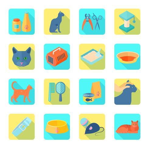 Platte pictogrammen kat schuine schaduw instellen vector