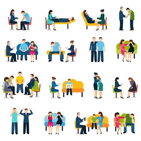 Counseling ondersteuning groep plat pictogrammen instellen vector