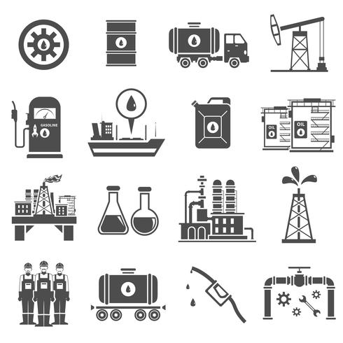 Olie zwart witte pictogrammen instellen vector