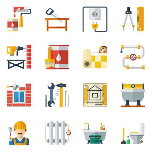 Home Reparatie plat pictogrammen collectie vector