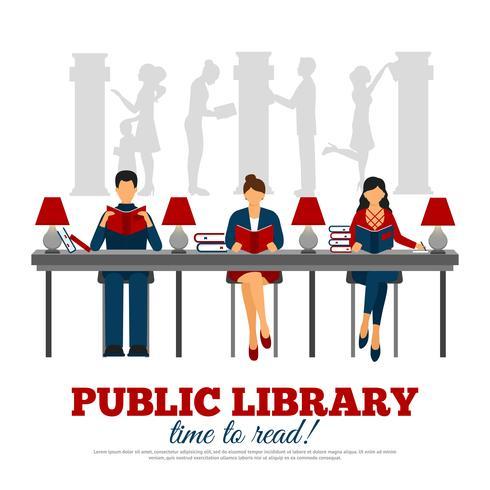Poster Van Scène In Bibliotheek vector