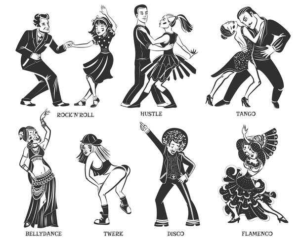 Populaire Native Dance Black Icons Set vector