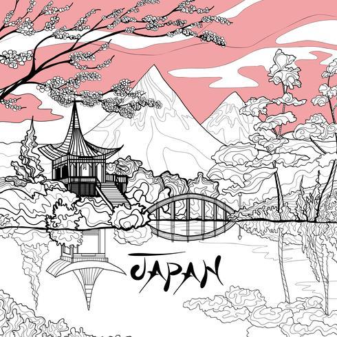 Japan landschap achtergrond vector