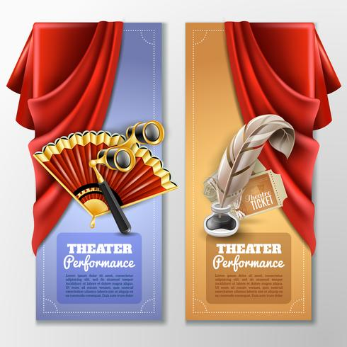 Theater en podium banners instellen vector