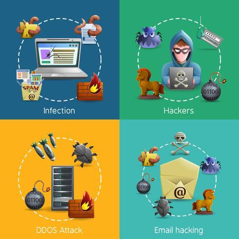 Hacker Cyber Aanval Pictogrammen Concept vector