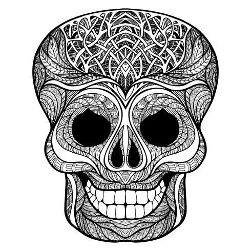 Decoratieve schedel zwarte doodle pictogram vector