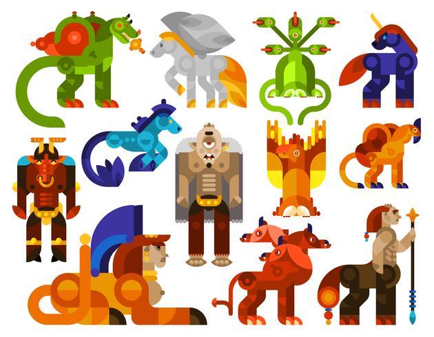 Mythische wezens iconen vector