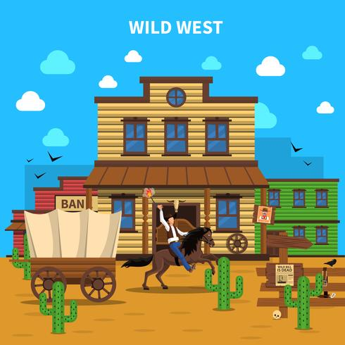 Cowboy achtergrond illustratie vector