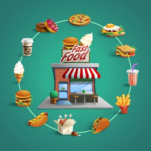 Fast-Food Restaurant Pictogrammen Cirkelsamenstelling Banner vector