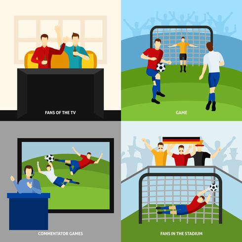 Voetbal 4 vlakke pictogrammen vierkante samenstelling vector