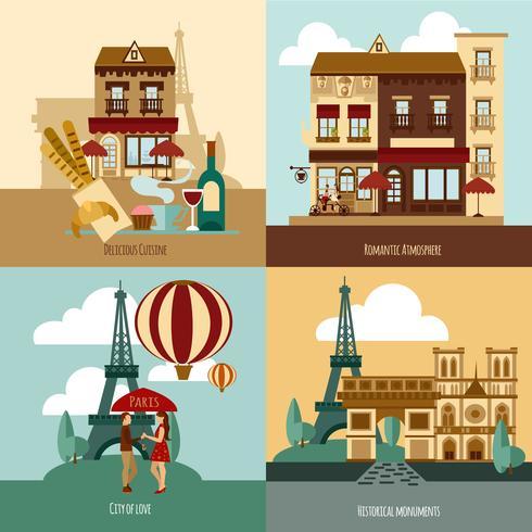 Paris toeristische set vector