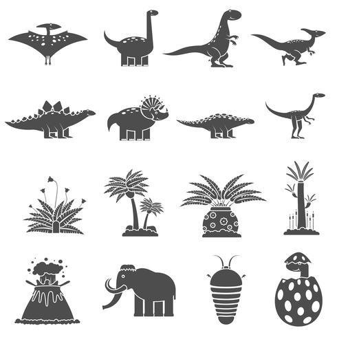 zwarte set dinosaurussen vector
