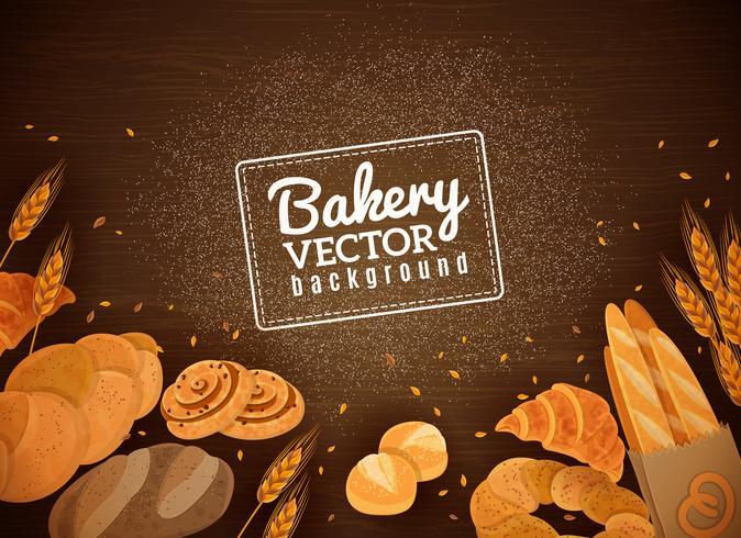 Achtergrondversiering Vers brood Donkere hout achtergrond vector