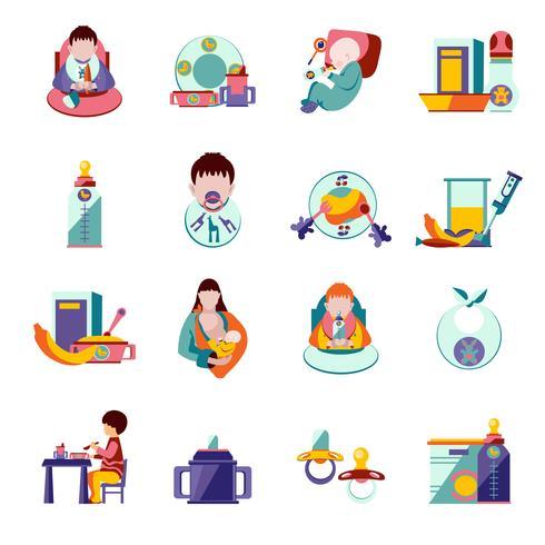 Babyvoeding pictogrammen vector