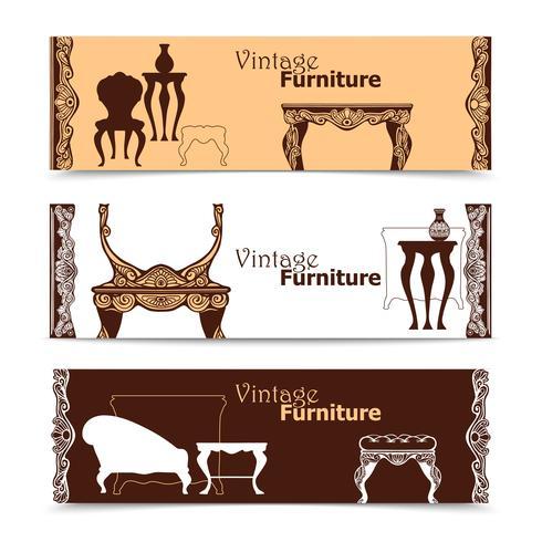 Hand getrokken Vintage meubilair horizontale banners vector