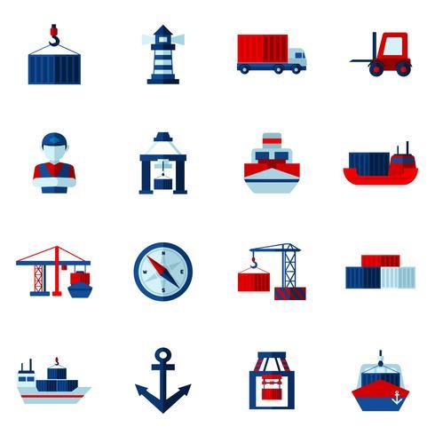 Zeehaven plat pictogrammen instellen vector