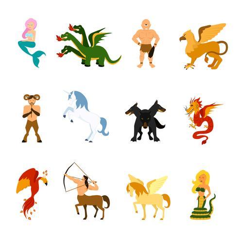 mythische schepselafbeeldingen instellen vector