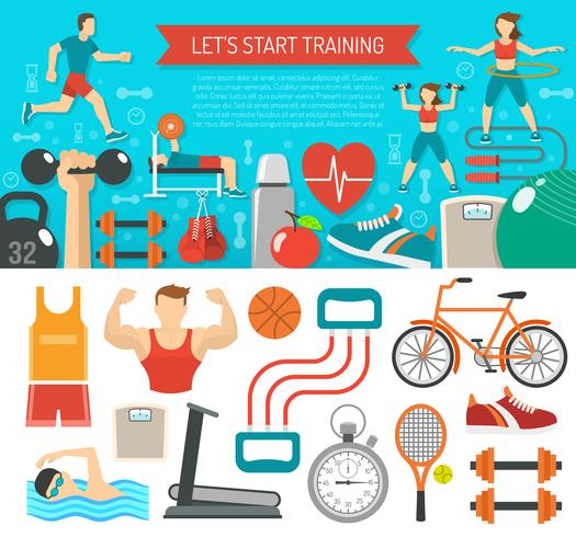 Fitnessbanner horizontaal vector