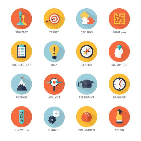 Strategie Icons Set vector