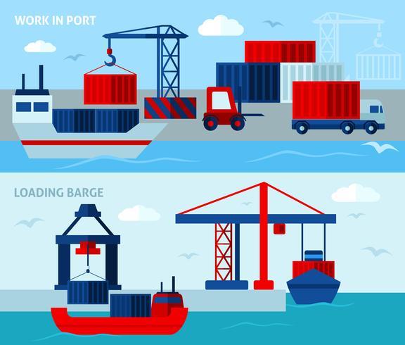 Vlakke kleur zeehaven horizontale banners vector