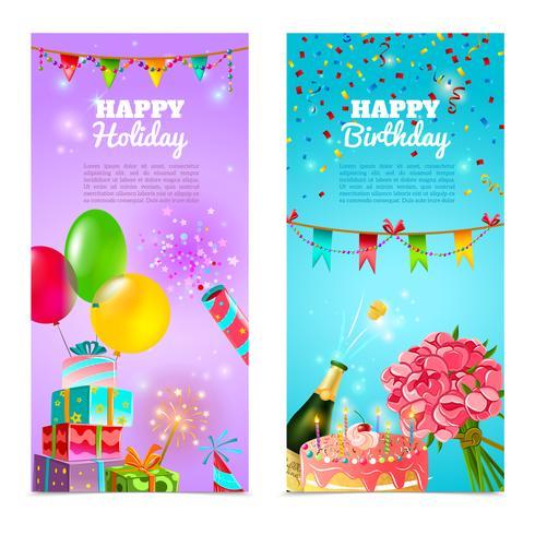 Gelukkige verjaardag vakantie celebratie banners instellen vector