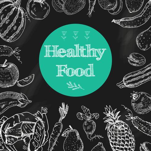 Gezonde voeding schoolbord achtergrond vector