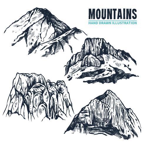 Hand getrokken bergen contouren vector