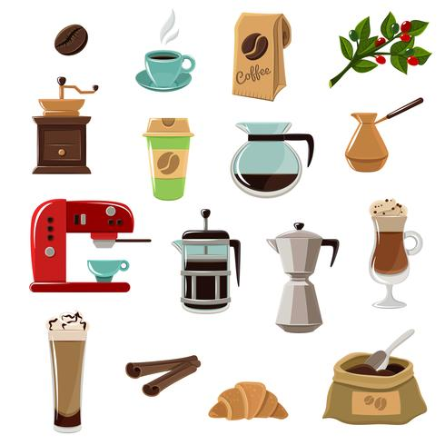 koffie retro plat pictogrammen instellen vector