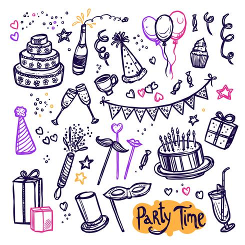 Verjaardag partij doodle pictogrammen collectie arrangement vector