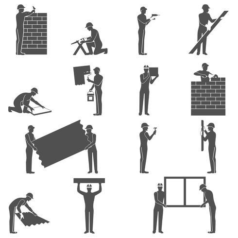 bouwers mensen instellen vector