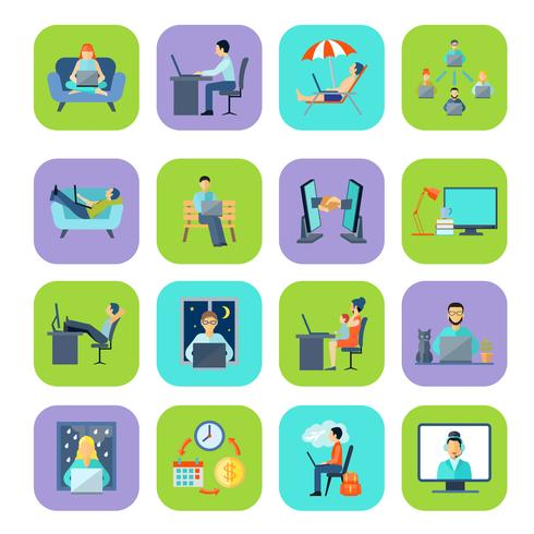 Freelance platte kleuren icon set vector