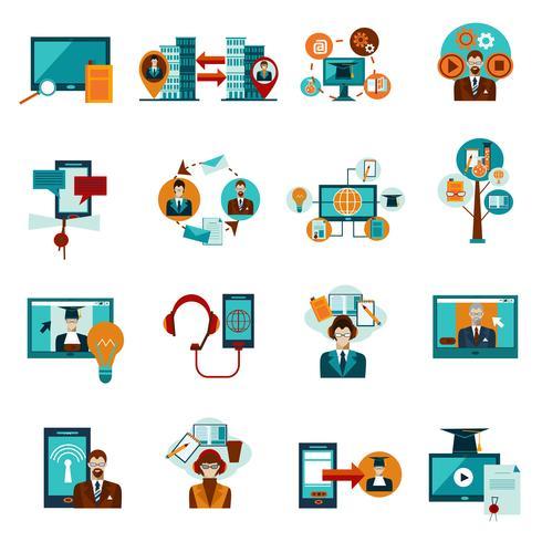 Online onderwijs Icons Set vector