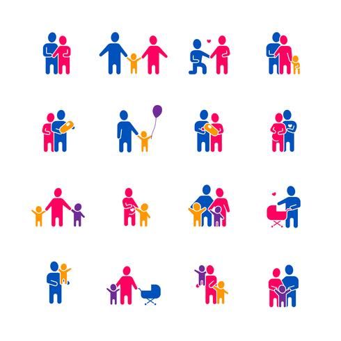 Familie Icons Set vector