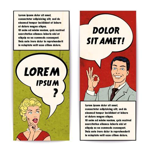 comics menselijke banner set vector