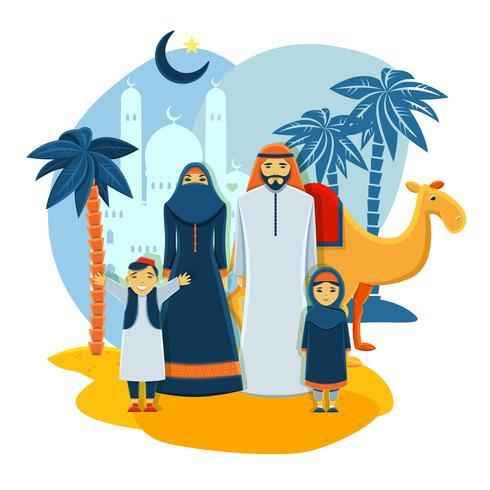 Moslim familie concept vector