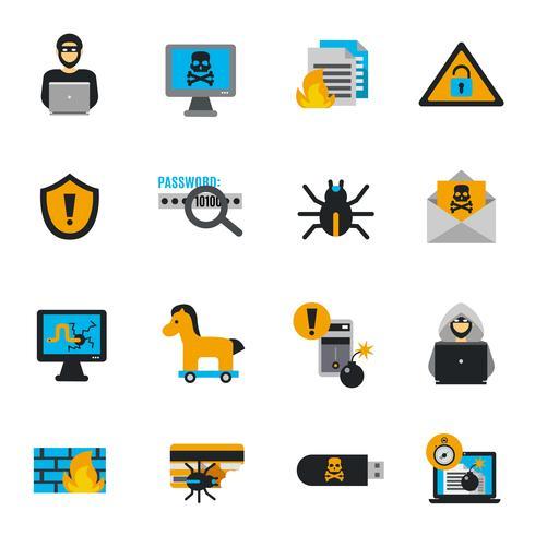 Hacker pictogrammen platte Set vector