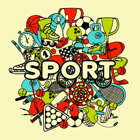 sport doodle collage vector