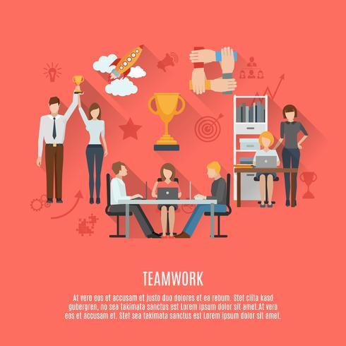Zakelijke teamwerk concept platte poster vector