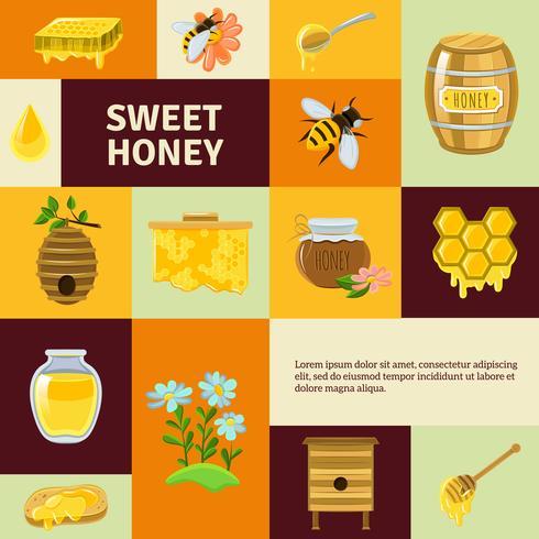 zoete honing pictogrammen instellen vector