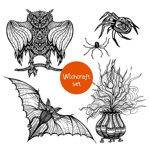 Hekserij Doodle Set vector