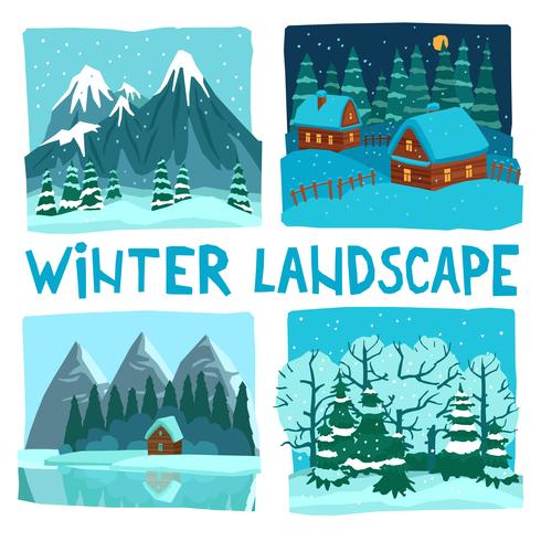 Winterlandschap digitale grafische set vector