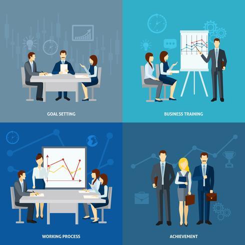 Business coaching 4 plat pictogrammen vierkant vector