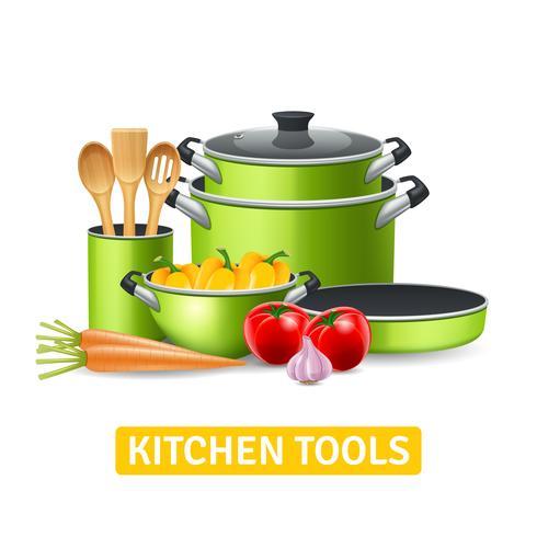 Keukengereedschap met groenten illustratie vector