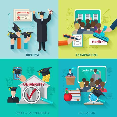Platte set voor het hoger onderwijs vector