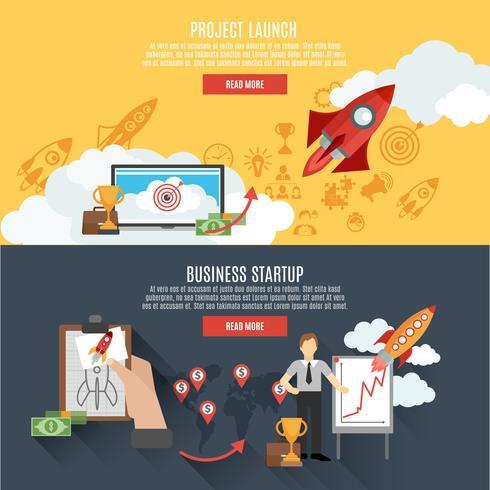 Rocket start banners met interactief webpagina-ontwerp vector