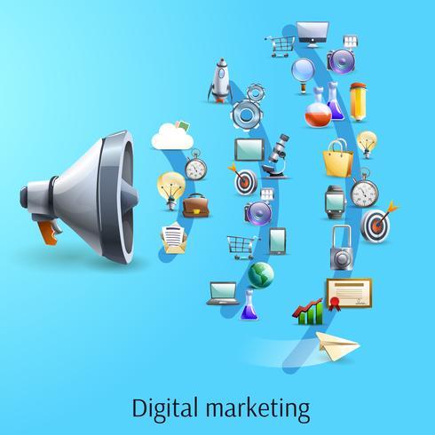 Digitale marketing concept platte banner vector