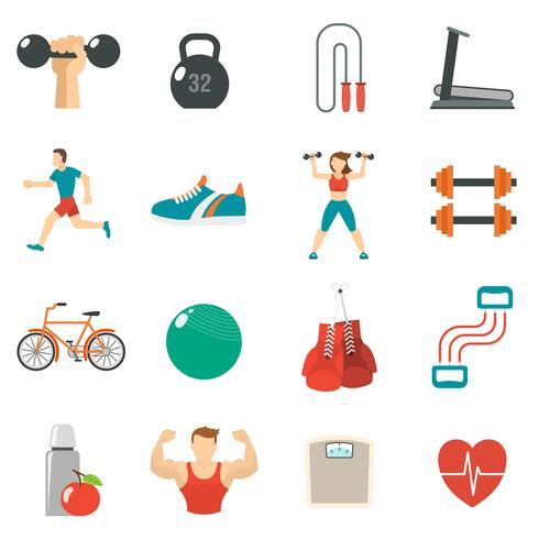 Fitness pictogram platte set vector