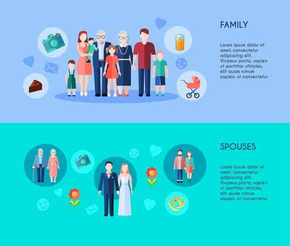 Familie en echtgenoten Banners vector